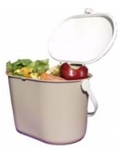 "Kitchen Pail $8.00   Attractive & easy to use.  Hinged lid snaps securely to pail.  2 gallon capacity.  Pail width easily accommodates the shape of plates for ""mess free"" scraping."